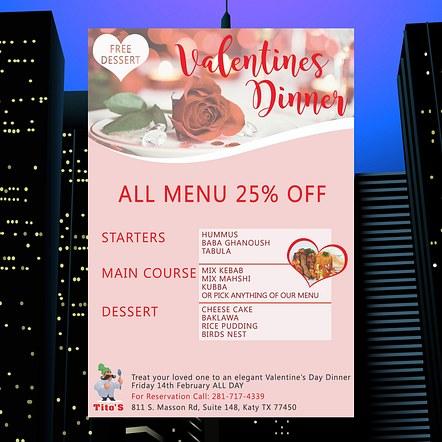 Valentines Sale Dinner Special Poster