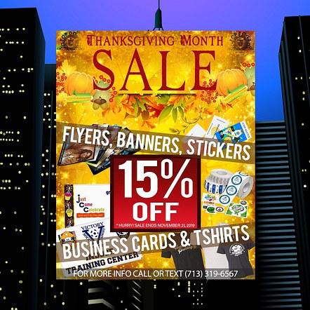 Print Shop, Graphics & Design Thanksgiving Promotion Flyer Design