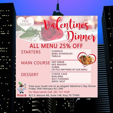 Valentines Dinner Special Digital Flyer Design