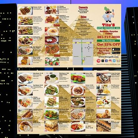 Quad Fold Brochure Restaurant To-Go Menu Design