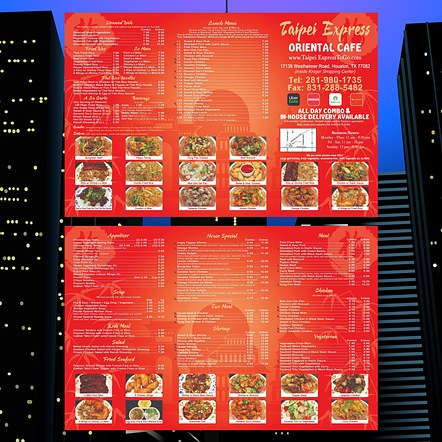 Tri-Fold Brochure Restaurant To-Go Menu Design