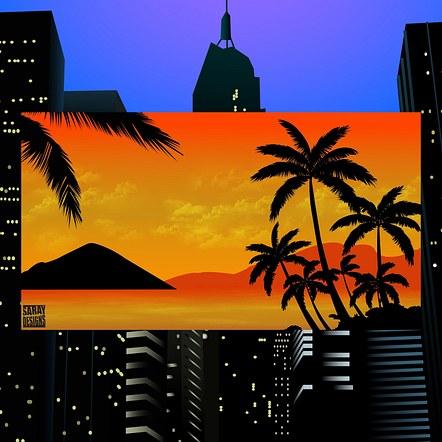 Sunset Foreground Vector Illustration Design