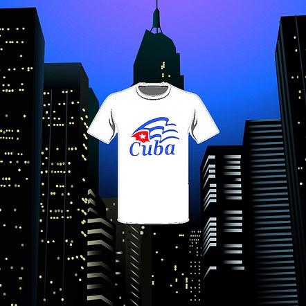 Cuban Flag Clean Design Mockup T-shirt