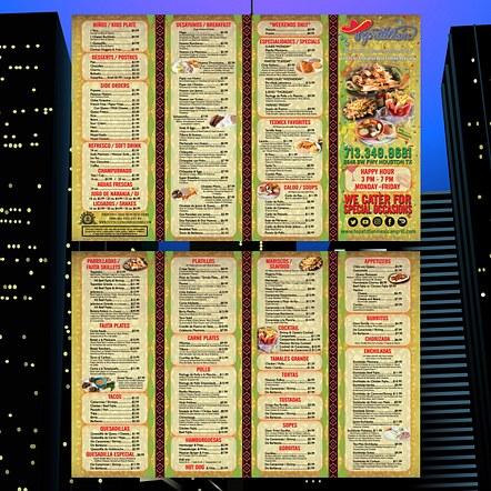 Accordion Fold 4 Panel Brochure Restaurant To-Go Menu Design