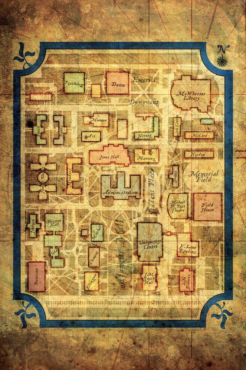 University of Memphis campus treasure map; original illustration