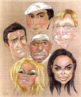 Personalized Caricature of five in colour of A3 get you Christmas gift.