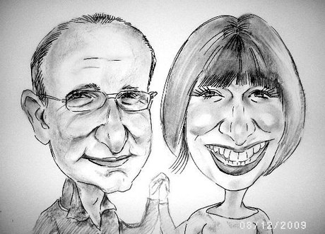 couple-caricatures Black and White