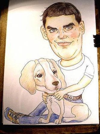 Personalised Black and white Caricature from your Photos for one people with a pet.