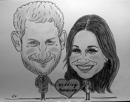Personalised Caricature of two people from photos B/W Wonderful gifts
