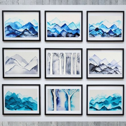 9 Frames Display of Trees and Mountains Artworks
