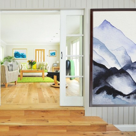 Mountain Series Prints in a Living Room
