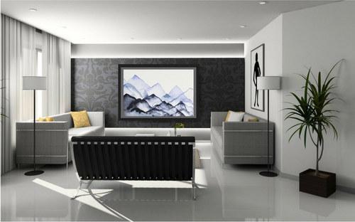 """Era of Tranquility"" Framed in a Modern Living Room"