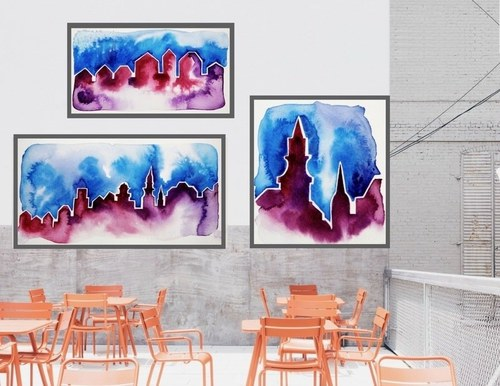 Cityscape Series on display on a patio