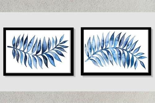 Blue Leaf Frame Pair