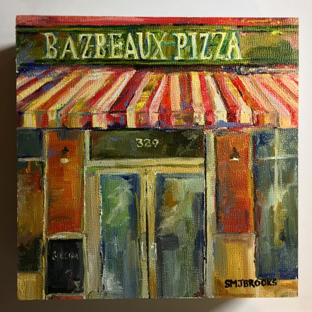 """Voted Best"" Bazbeaux Pizza."