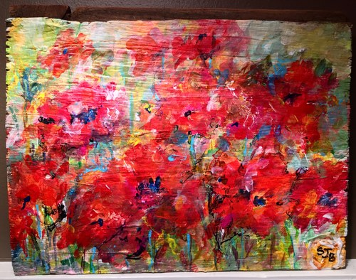 Poppies on Indiana Barnwood