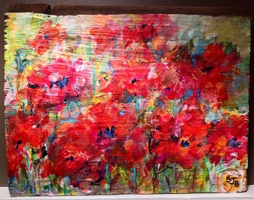 Poppies on Indiana Barnwood