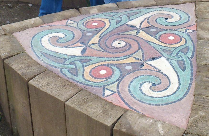Centre mosaic of Triskel Sculpture
