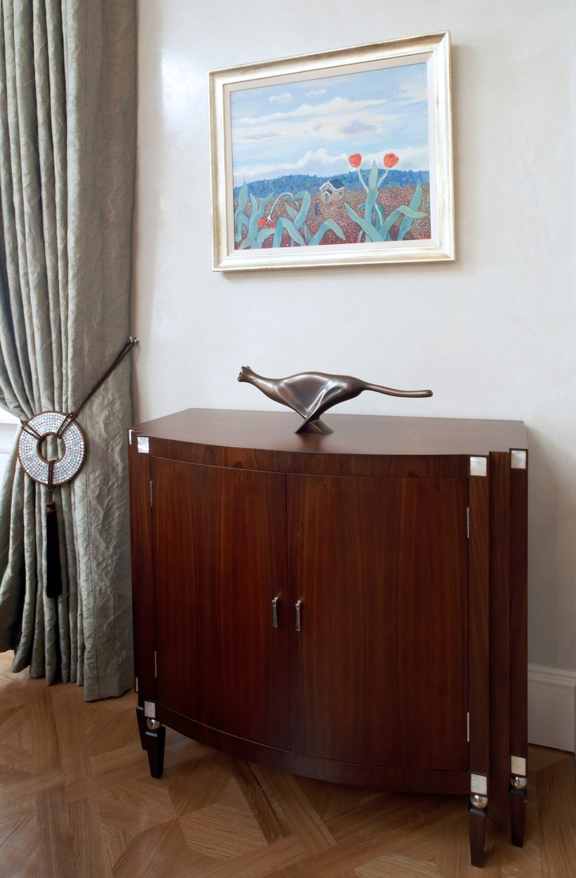 Bespoke Walnut commode with mother of pearl and nickel detail