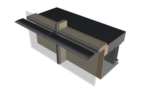 3D Mock Up Rhino Model of Curtain Wall and Louver Connection