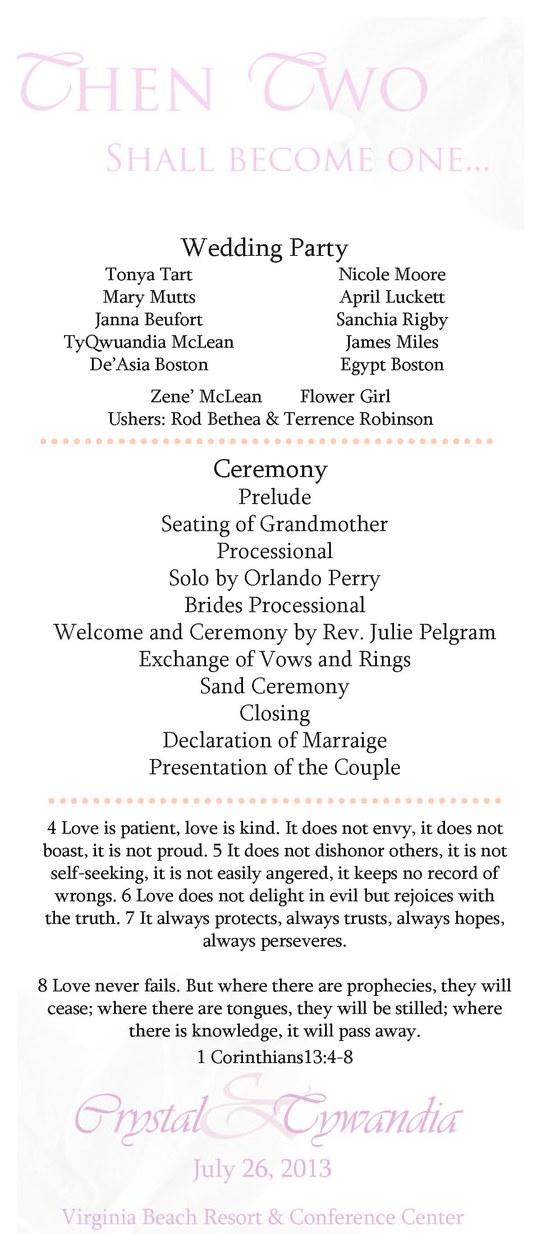 Tropical Wedding program
