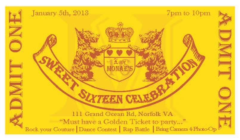 Willy Wonka Themed Golden Ticket style Birthday invitation