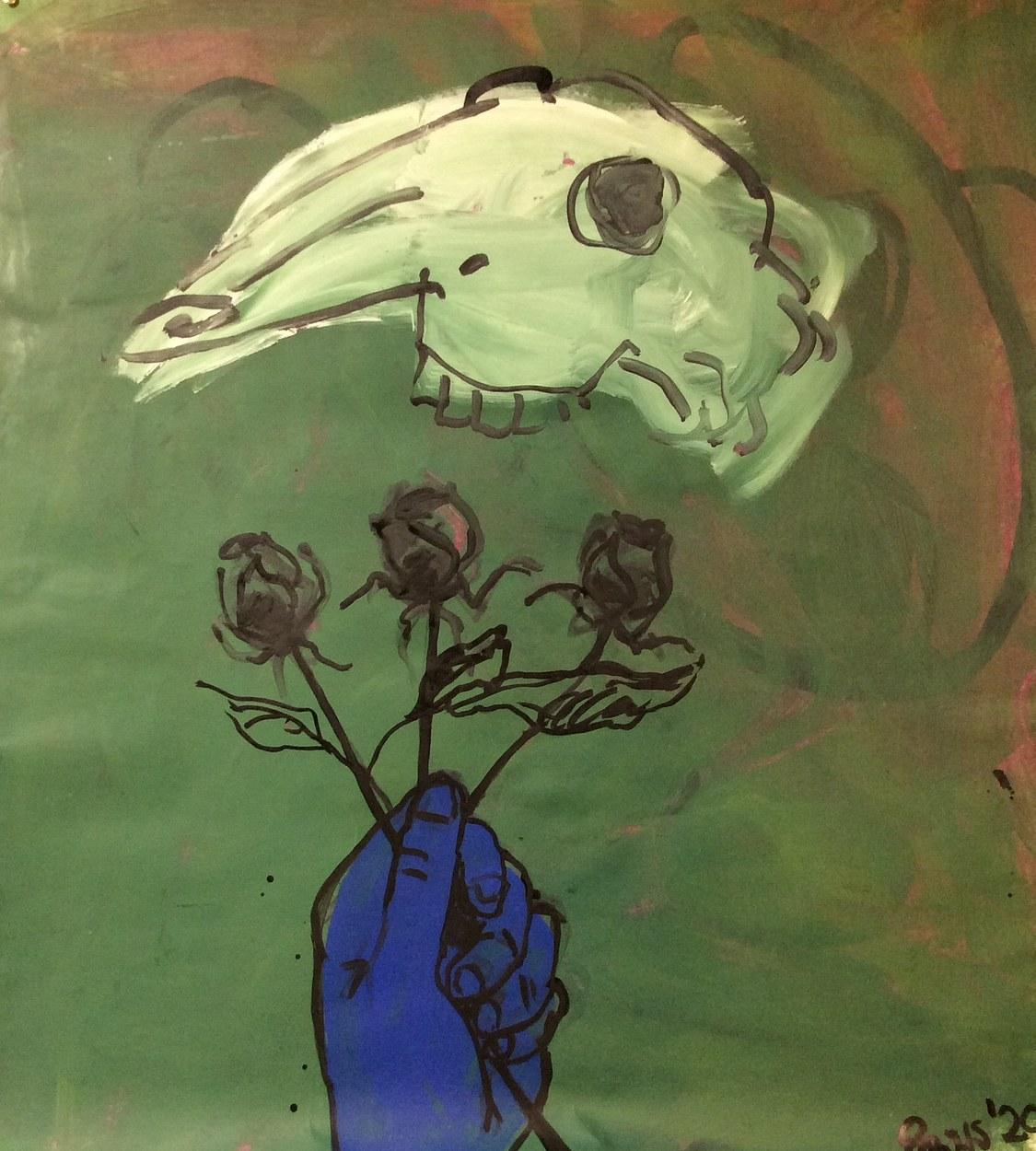 Goat Skull and Roses