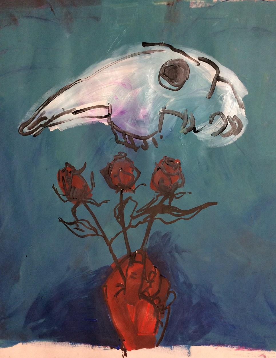Goat Skull and Roses 2