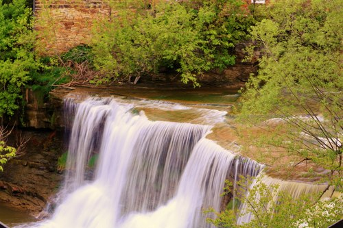 High Angle Shot of the Chagrin Falls Waterfall