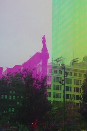 Prismatica View of Figure in Public Square