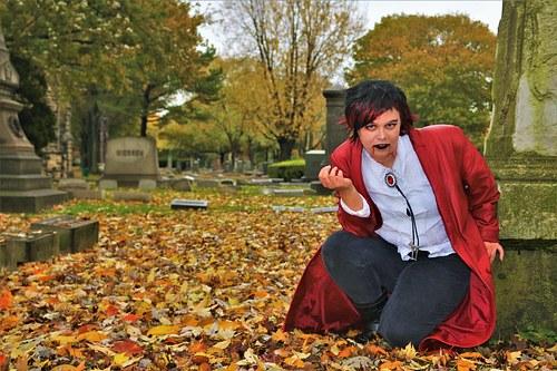 Vampire Girl at Rest Near Grave