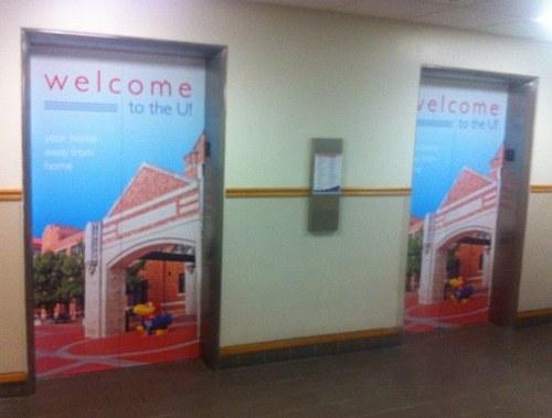 Graphics for elevators, KU Memorial Union
