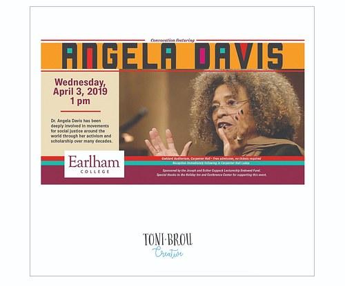 Event poster, digital and print, Angela Davis at Earlham College