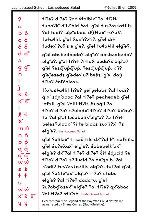 Lushootseed School and Lushootseed Sulad typefaces