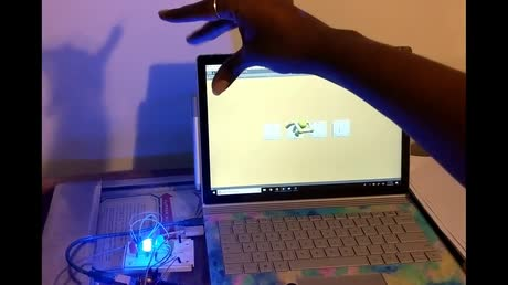 Control Virtual Switches with Leap Motion Pinch Gesture and Control LEDs via Arduino