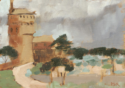 Tuscany Sketch Oil Rapunzels Tower