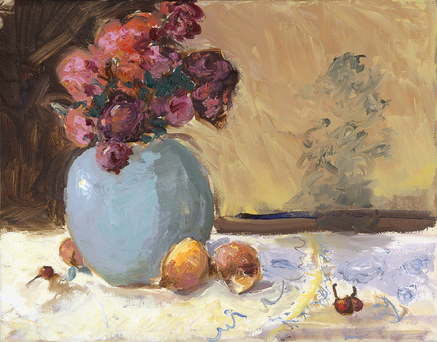 Still Life - Roses and Fruit on Provencal Tablecloth with Birds
