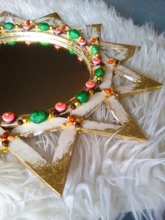 White Beaded Mirror