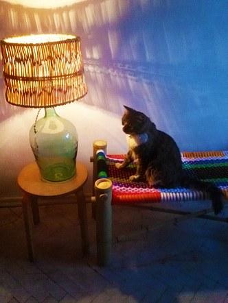 Happy Bamboo Bench / ბამბუკის ნაქსოვი სკამი Happy