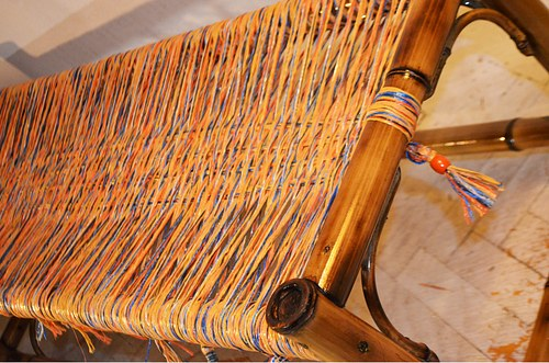 Bamboo Bench With Tassels / ბამბუკის სკამი ფუნჯებით