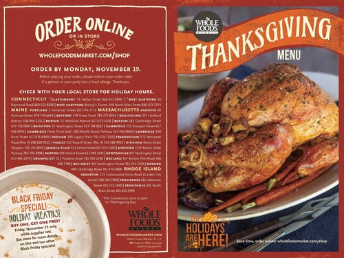 Whole Foods Market Thanksgiving Menu