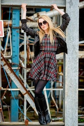 Carla Monaco. Tartan Dress. The Wirral. Industrial Estate. Fashion Shoot