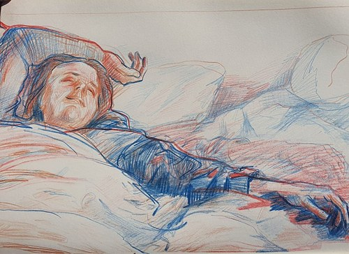blue and red pencil portrait sketch of Clara.