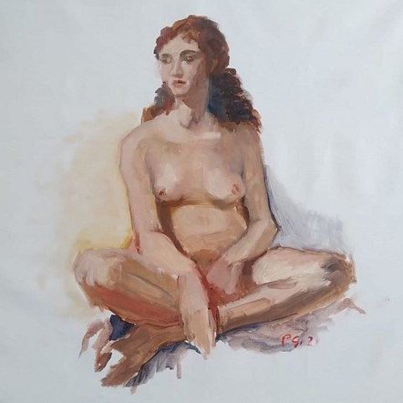 Oil Sketch of Cat, full figure seated
