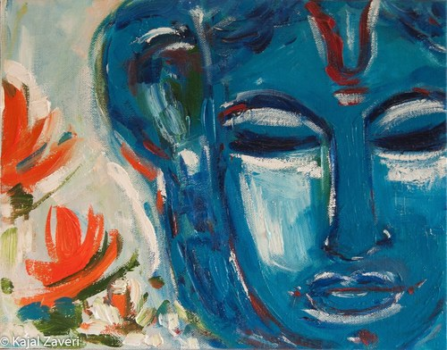 Buddha Blue-Original Zen Art-Buddhism-Meditation and yoga art-Gift Idea-Free Shipping