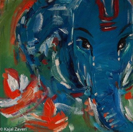 Blue Ganesh-Original Oil Painting- Indian Ganesh Art