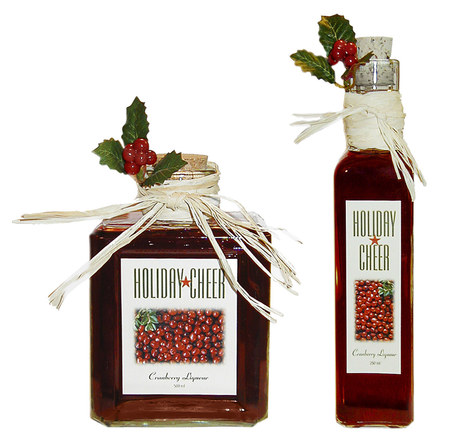 Homemade Cranberry Liqueur Gifts with Labels