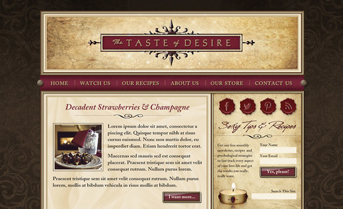 The Taste of Desire | Website Home Page Comp