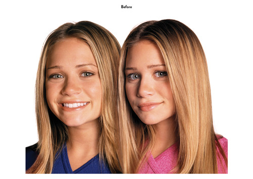 Mary Kate & Ashley Olsen | Eyewear Advertising Art (Before)