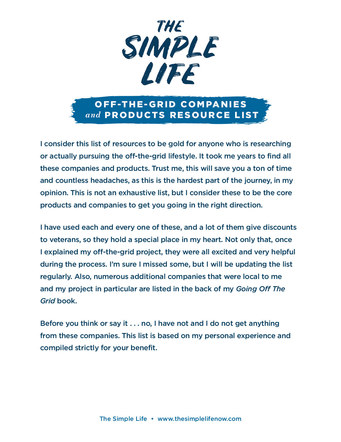 The Simple Life Off-Grid Resource List | Website Handout P. 2